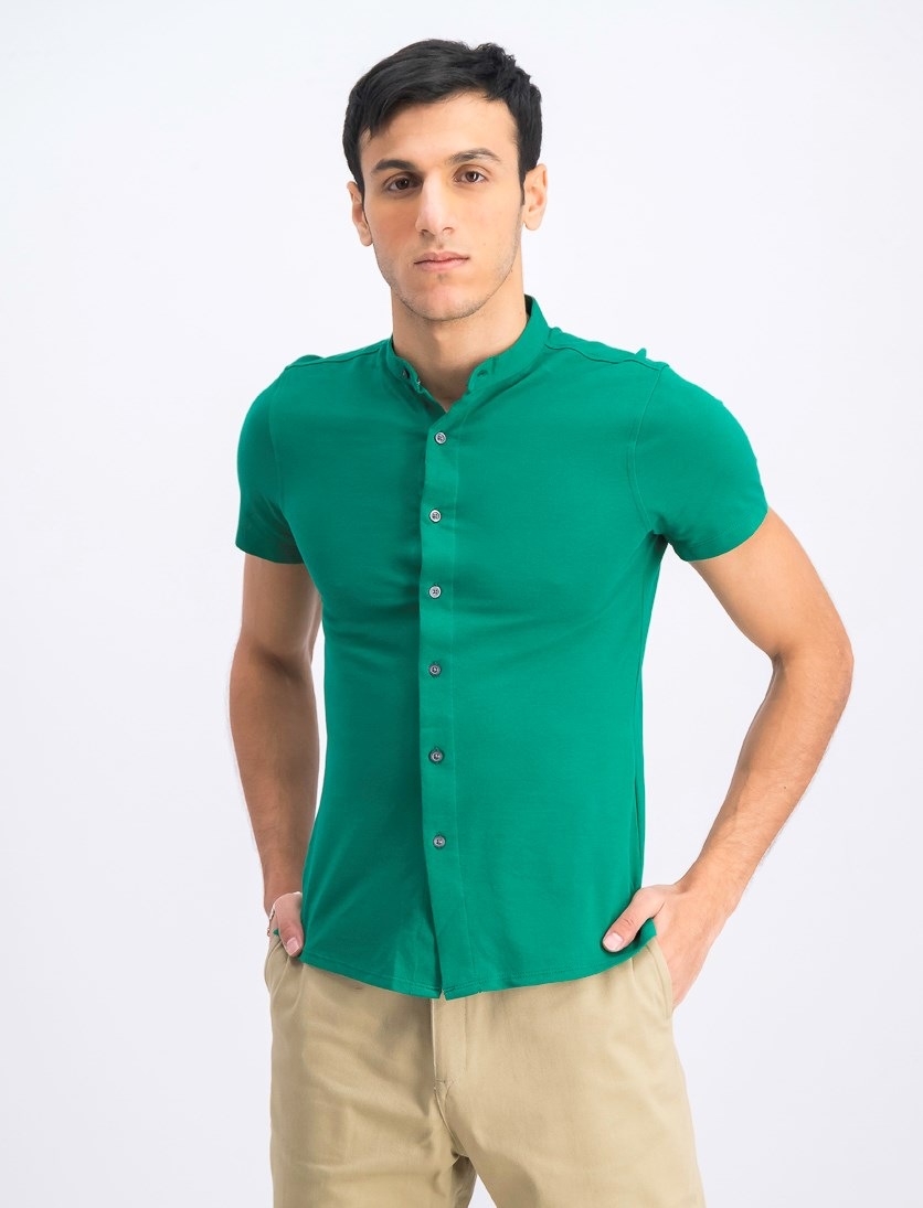 Men's Mandarin Collar Plain Shirt, Green