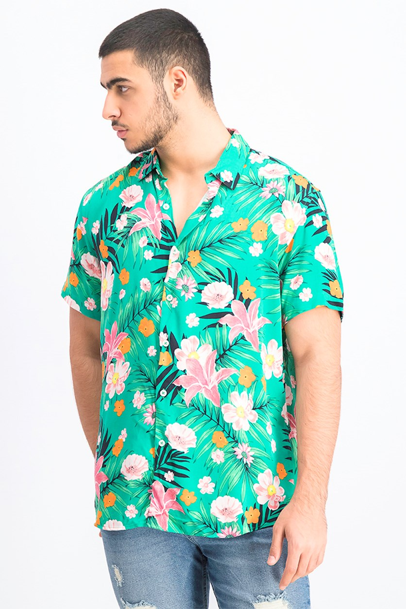 Men's Floral Print Shirt, Green Combo