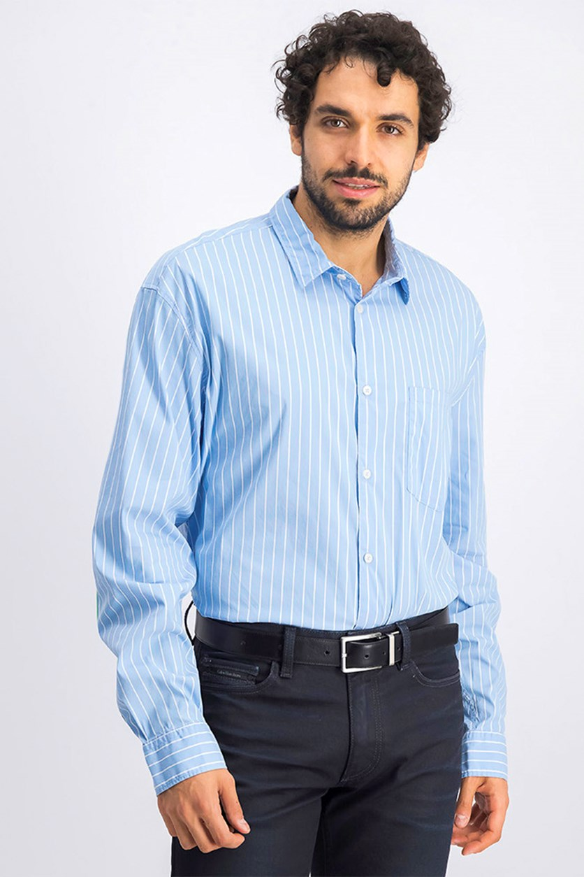 Men's Stripe Casual Shirt, Light Blue