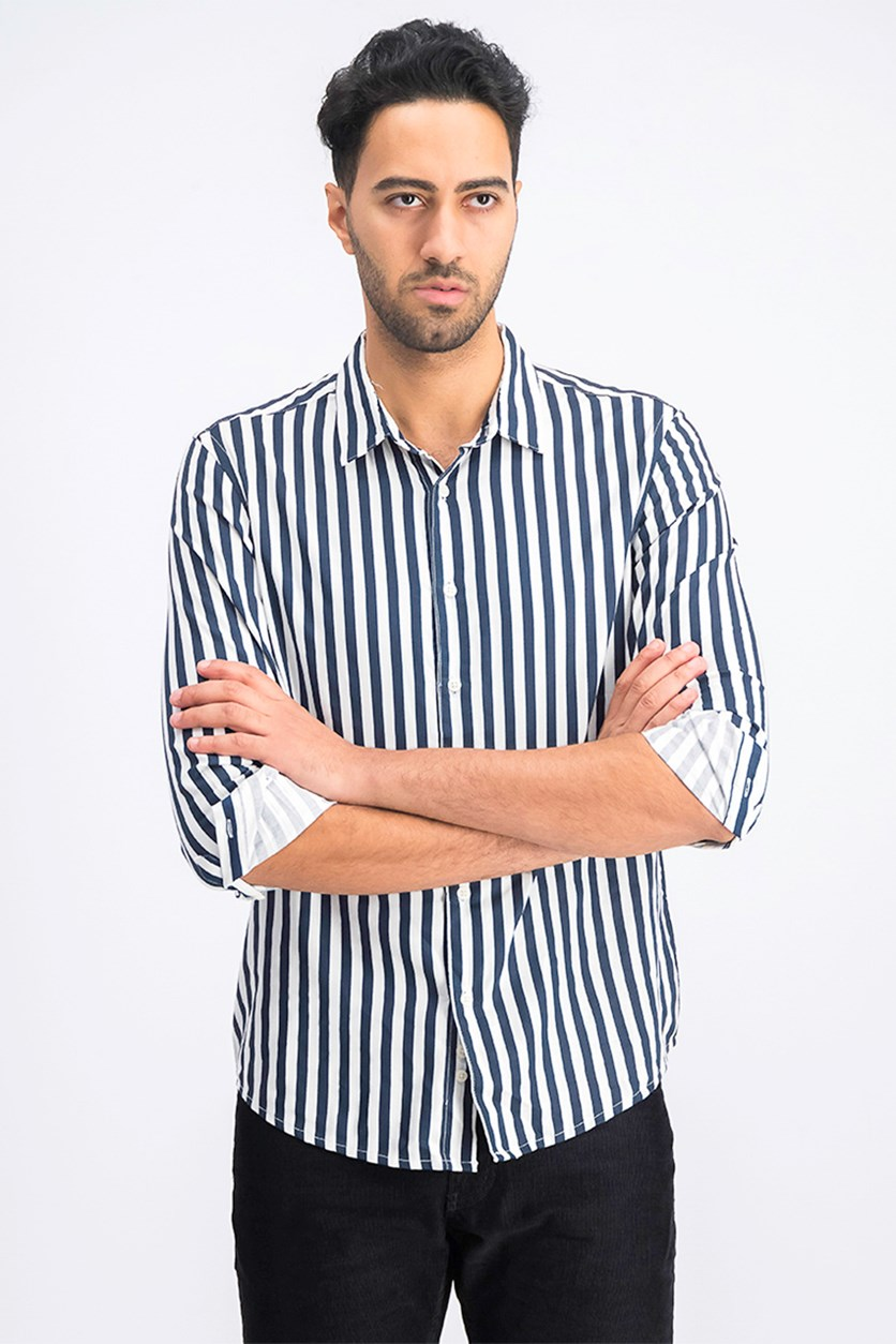 Men's Striped Shirt, White/Navy