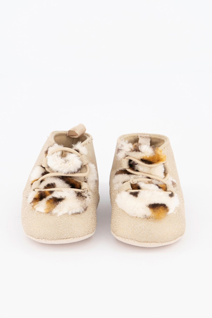 Baby Girls Faux-Fur Chukka Boots, Metallic Beige