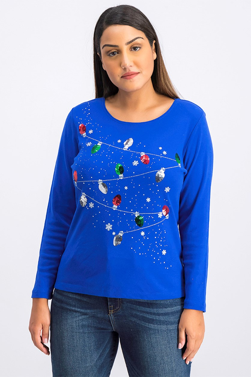 Petite Cotton Holiday Lights Sequin Top, Ultra Blue