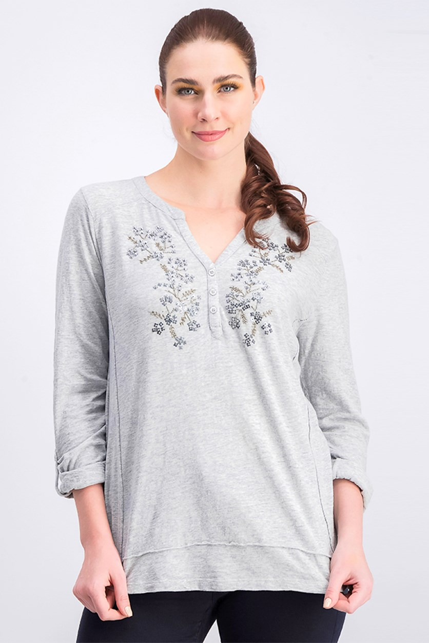 Women's Cotton V-Neckline Long Sleeve Top, Gray