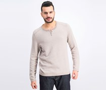 Alfani Men's Textured Two-Tone Henley, Cave Grey Heather