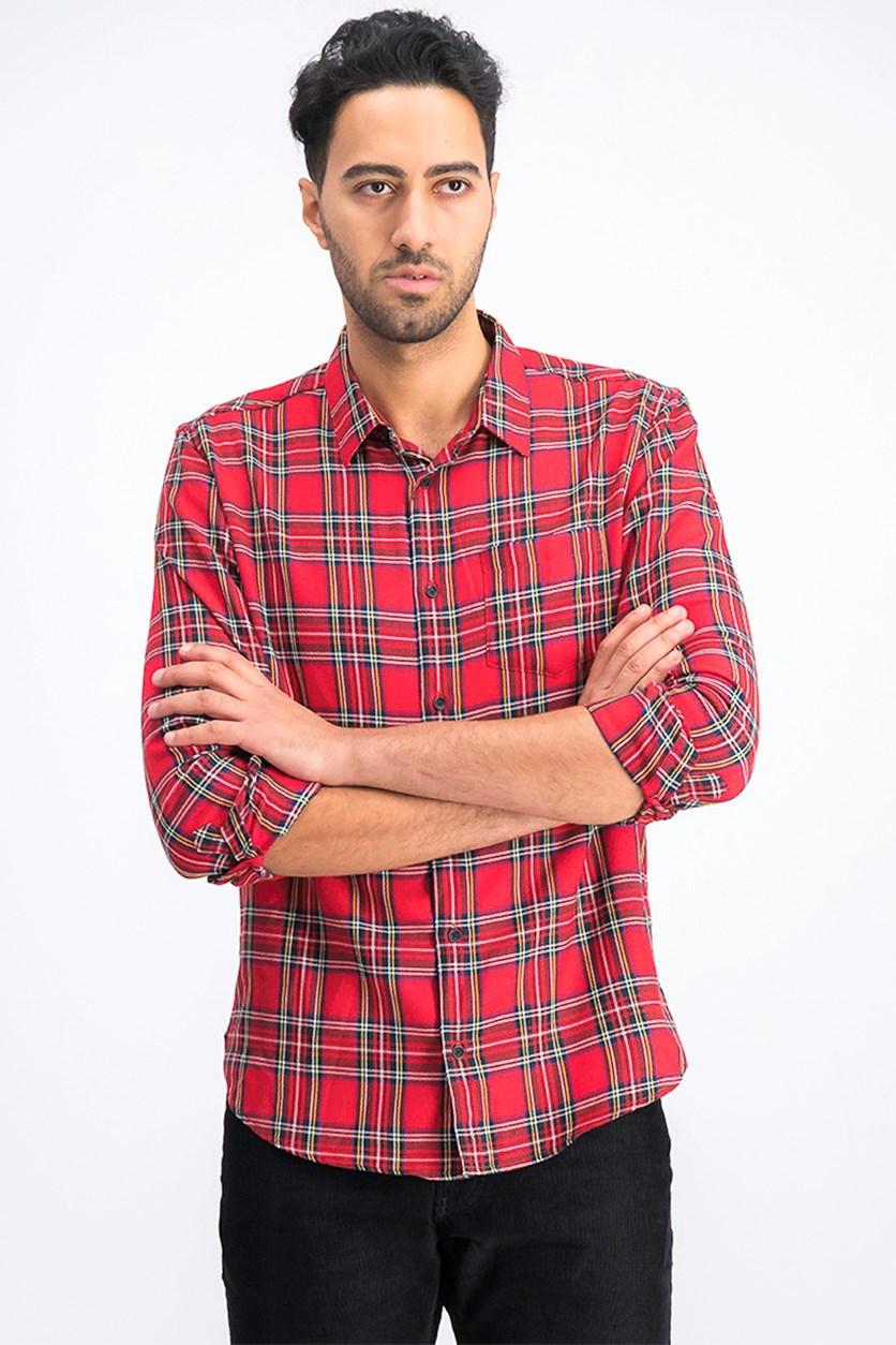 Men's Long Sleeve Check Shirt, Red Combo