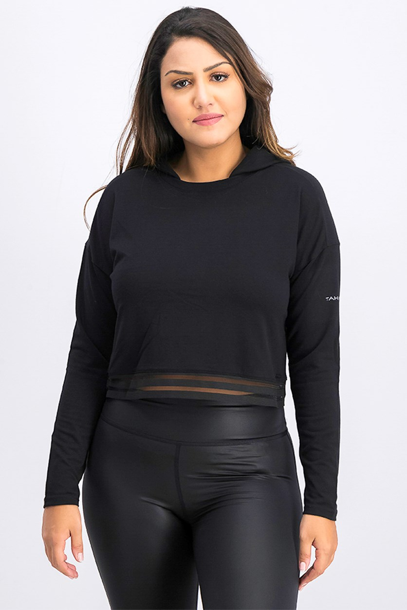 Women's Liana Semi Cropped Hoodie, Black