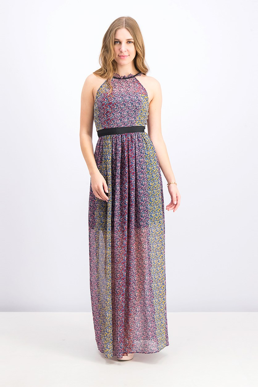Color-Block Floral Print Maxi Dress, Rose Bloom Combo