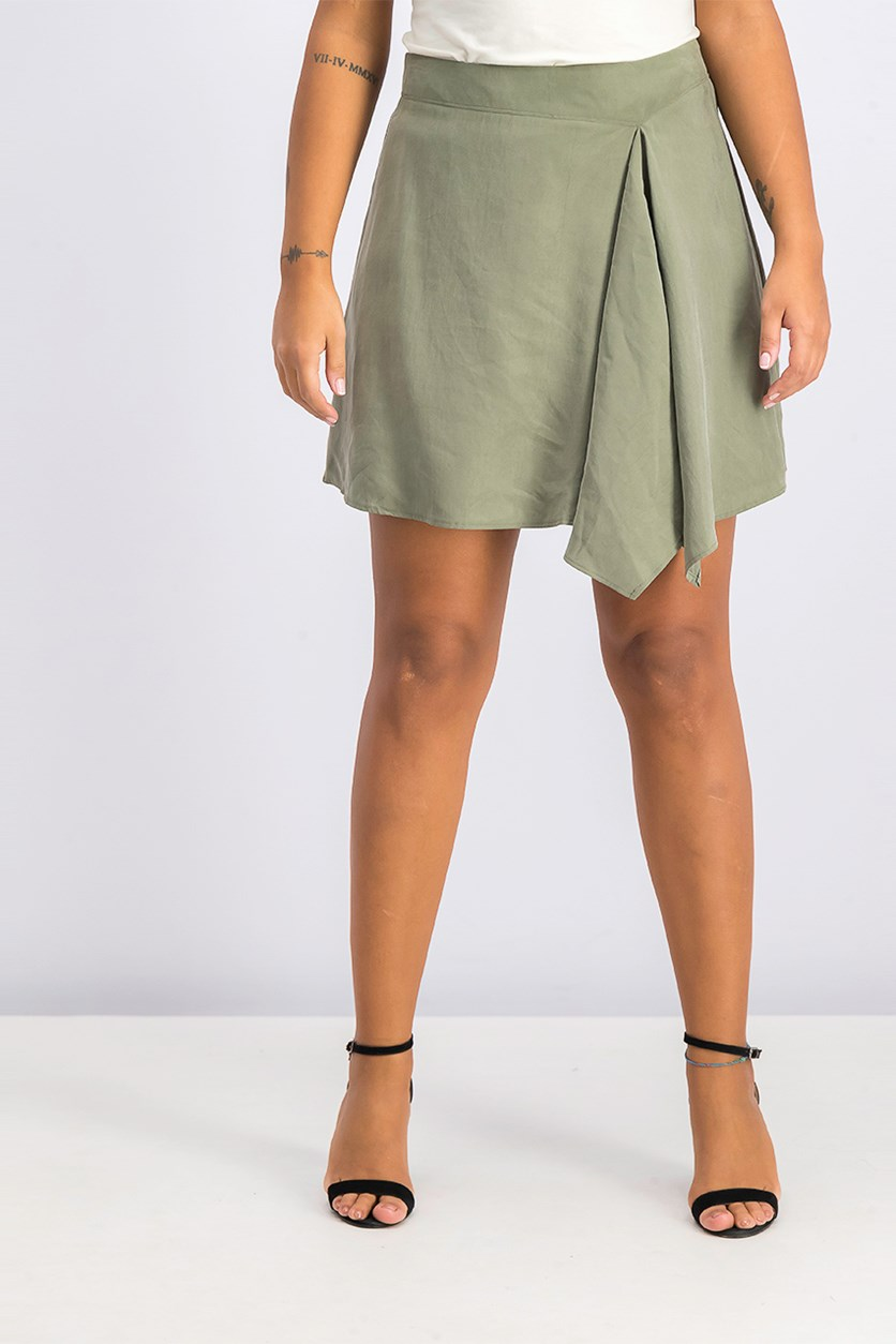 Womens Asymmetric Drapey A-Line Skirt, Dusty Olive