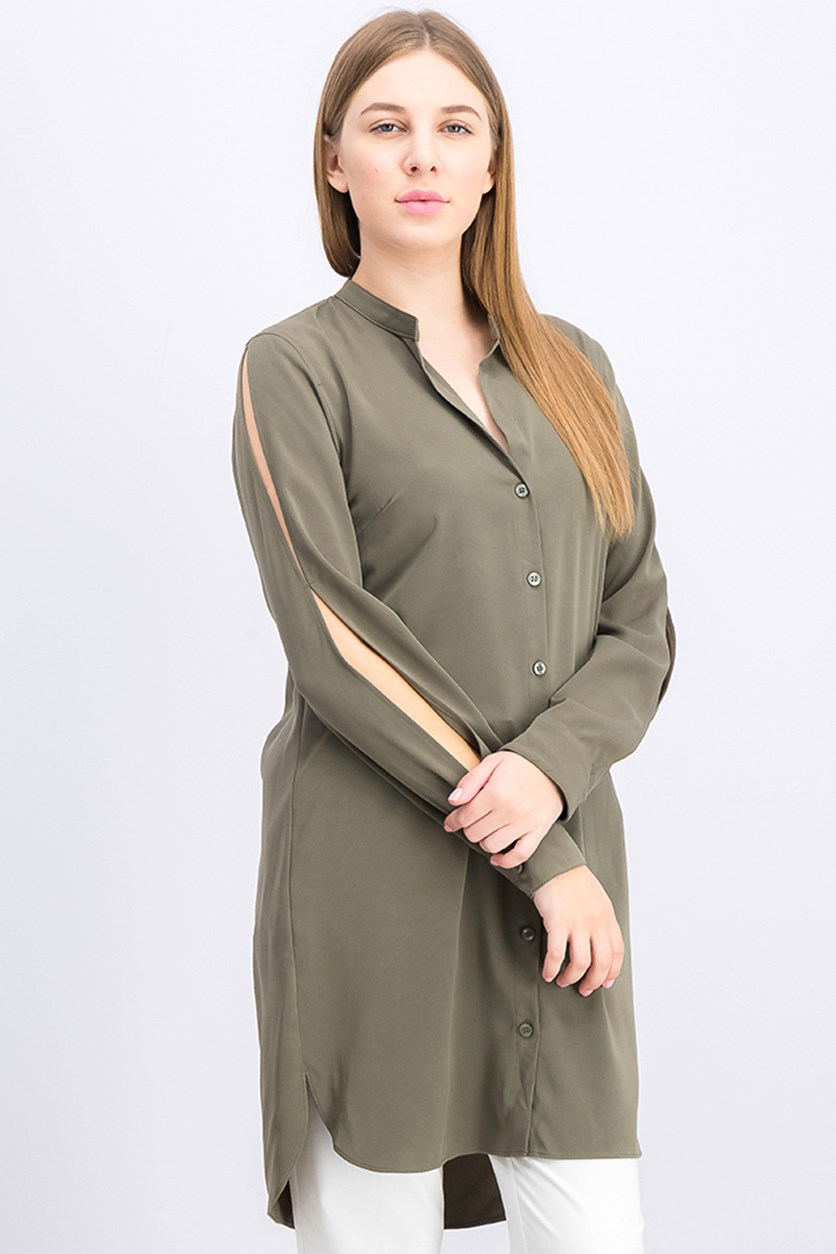 Womens Split Sleeves Button Down Casual Dress, Olive
