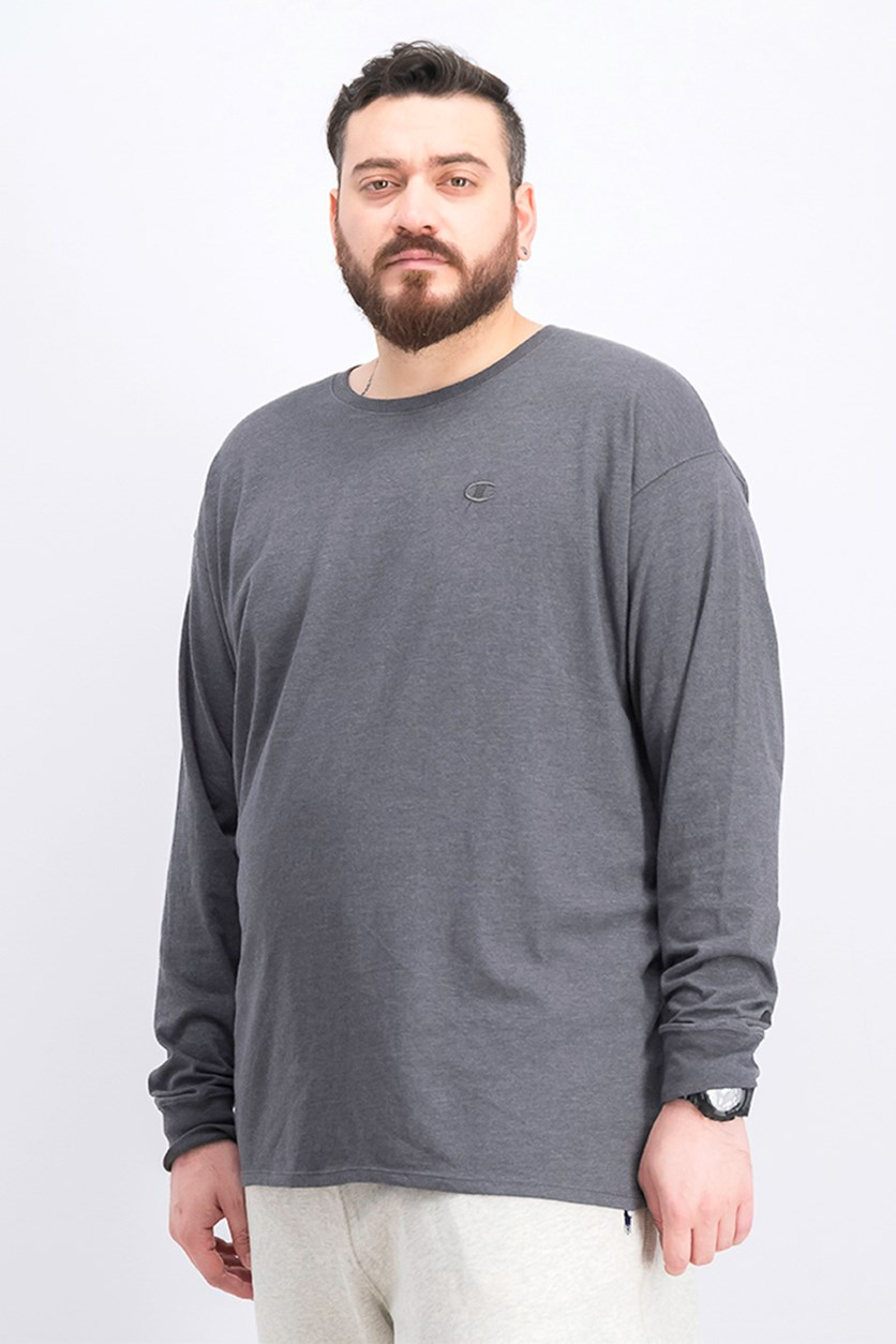 Men's Classic Cotton Long-Sleeve Sweaters, Gray