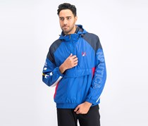 Men's Hooded Pullover Jacket, Blue Combo
