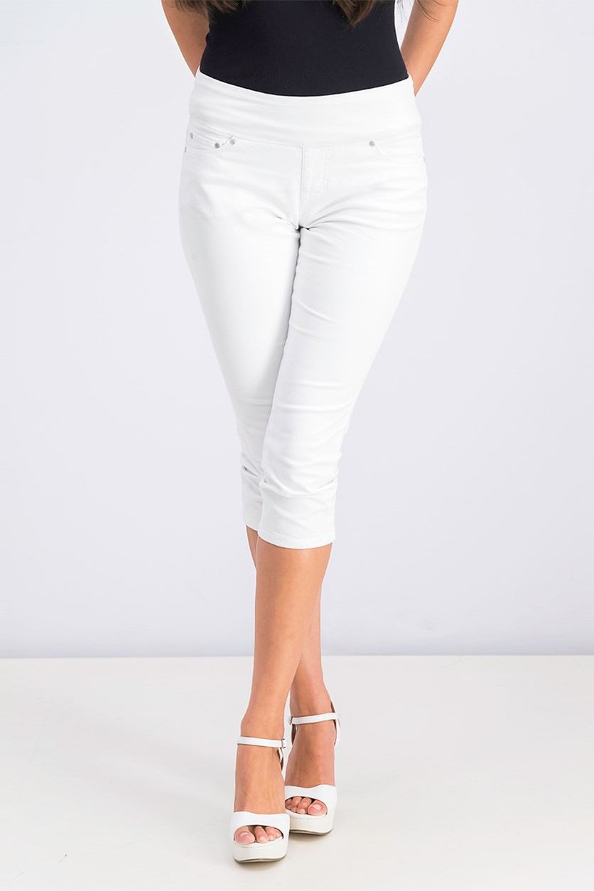 Women's Petite Straight-Leg Crop Pants, White