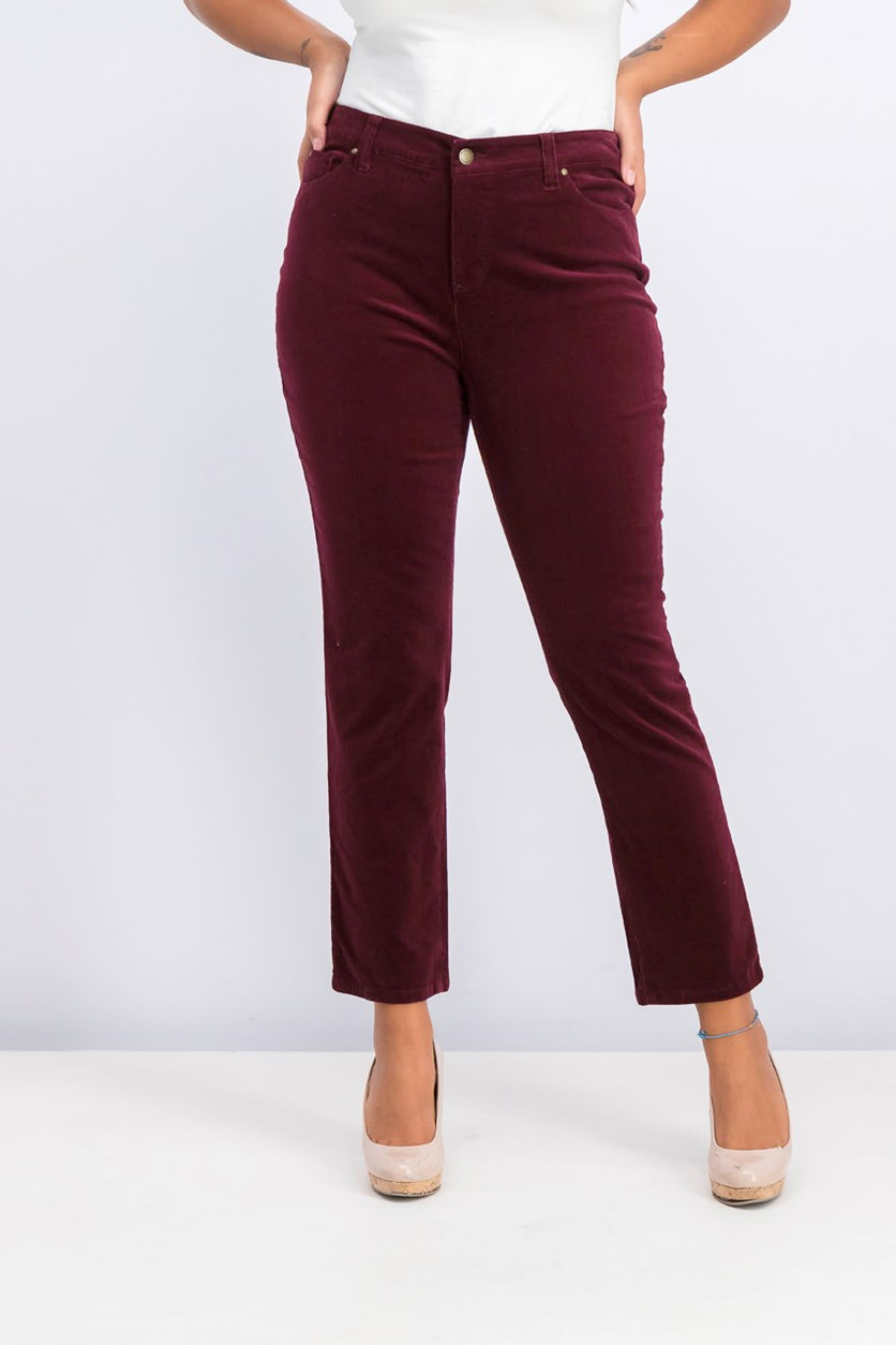 Women's Petite Lexington Corduroy Pants, Maroon