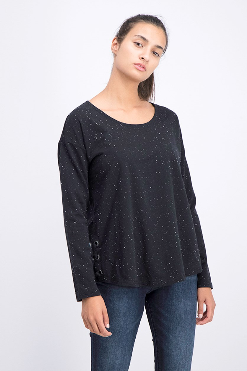 Flecked Side Lace-up Top, Black