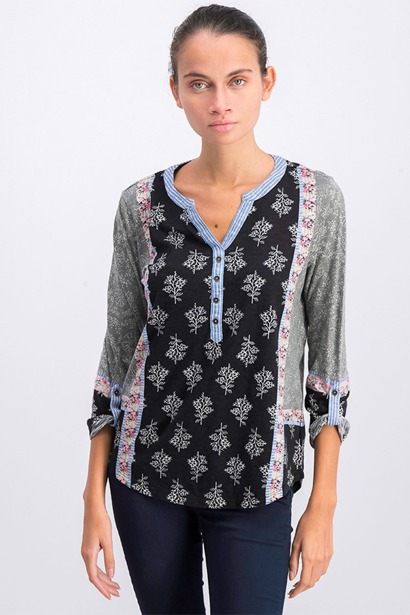 Petite Mixed-Print Roll-Tab Top, Black