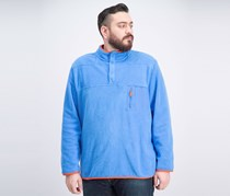 Men's Fleece Mock-Collar Sweater, Palace Blue