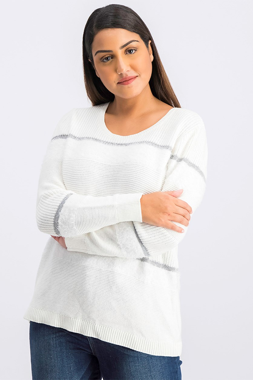 Petite Mixed-Media Eyelash Stripe Pullover Sweater, White Combo