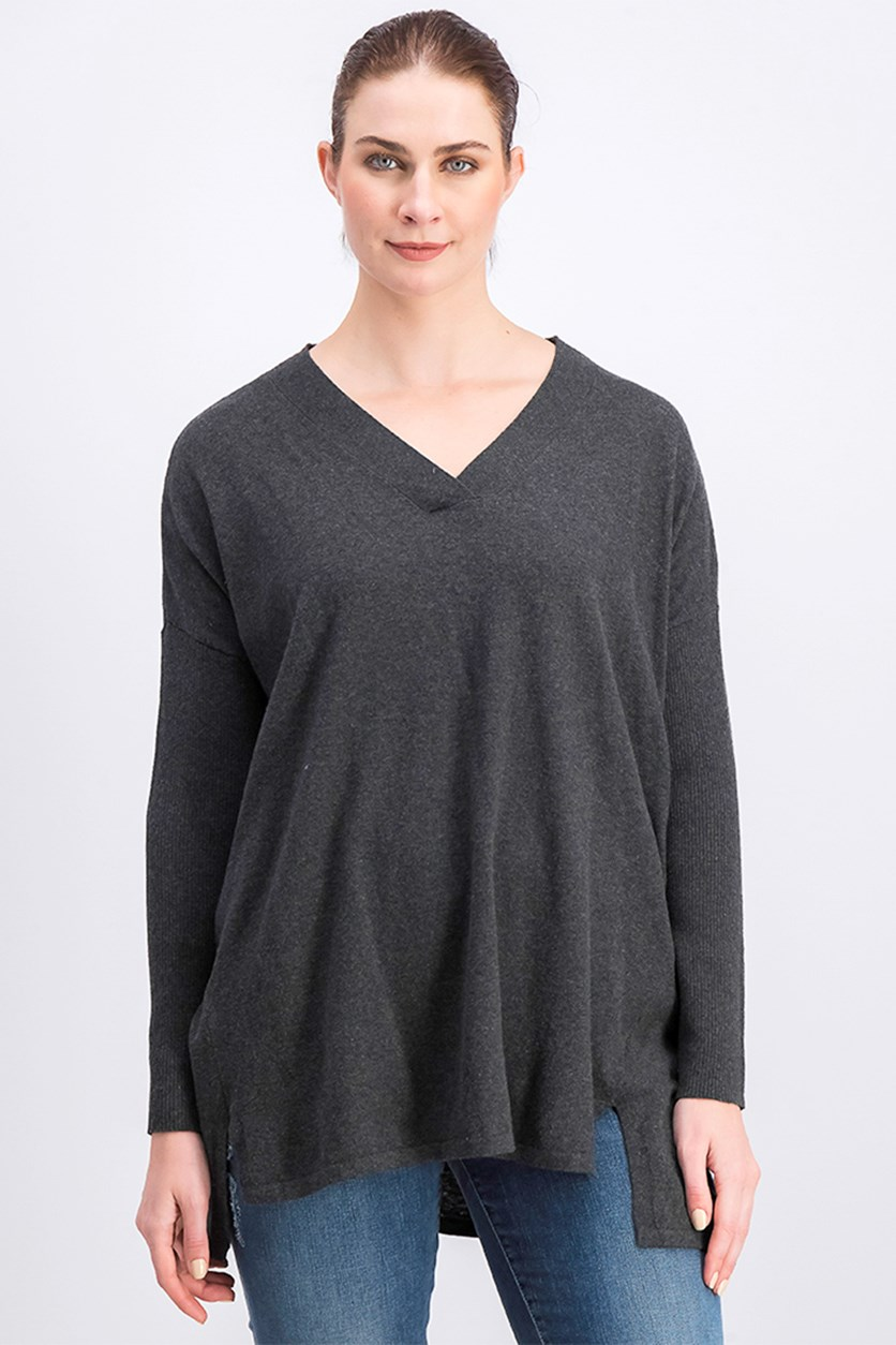 Women's Long Sleeve High-Low Tunic Top, Charcoal