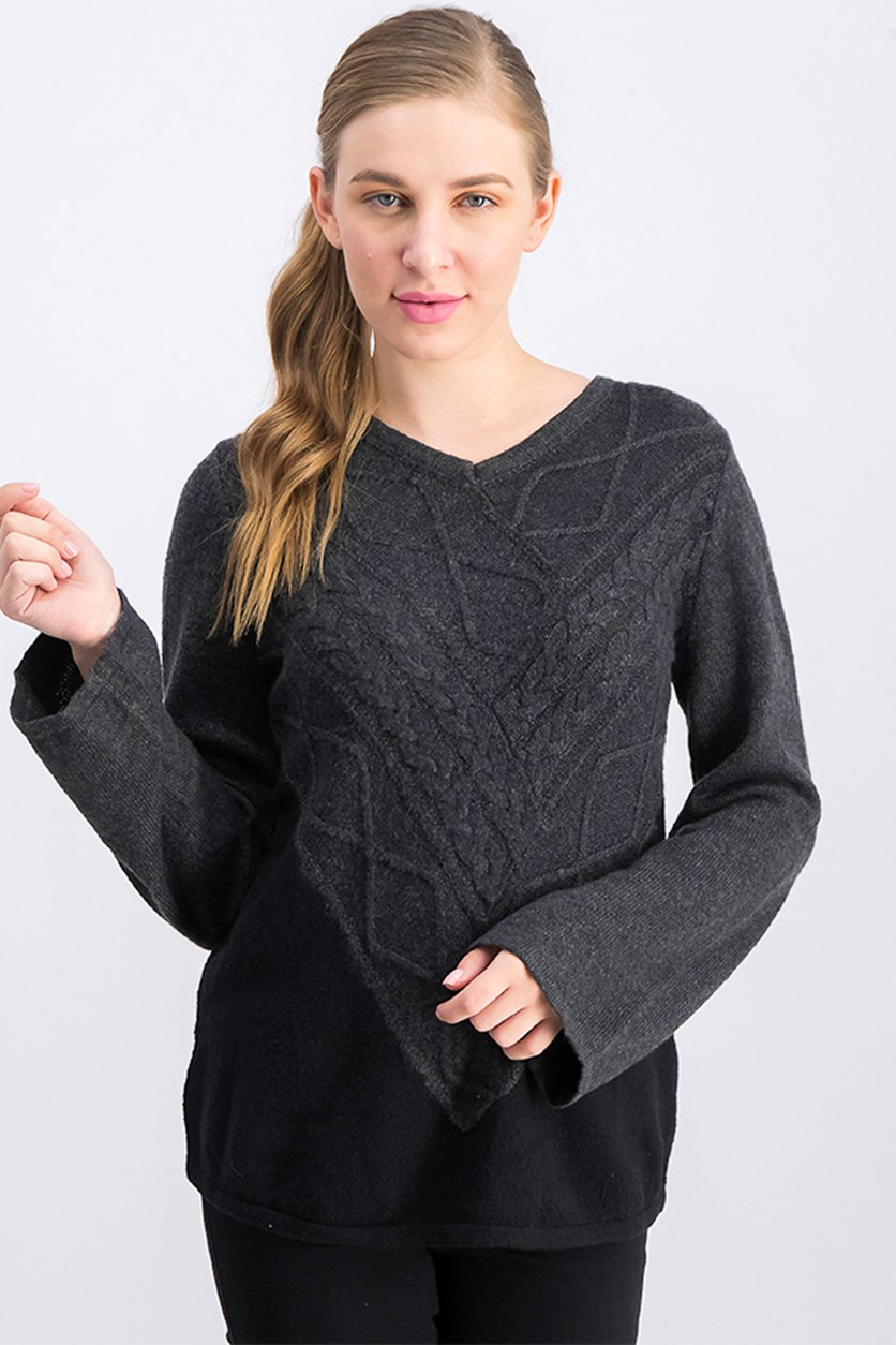 Petite Colorblocked Mixed-Stitch Sweater, Black Heather