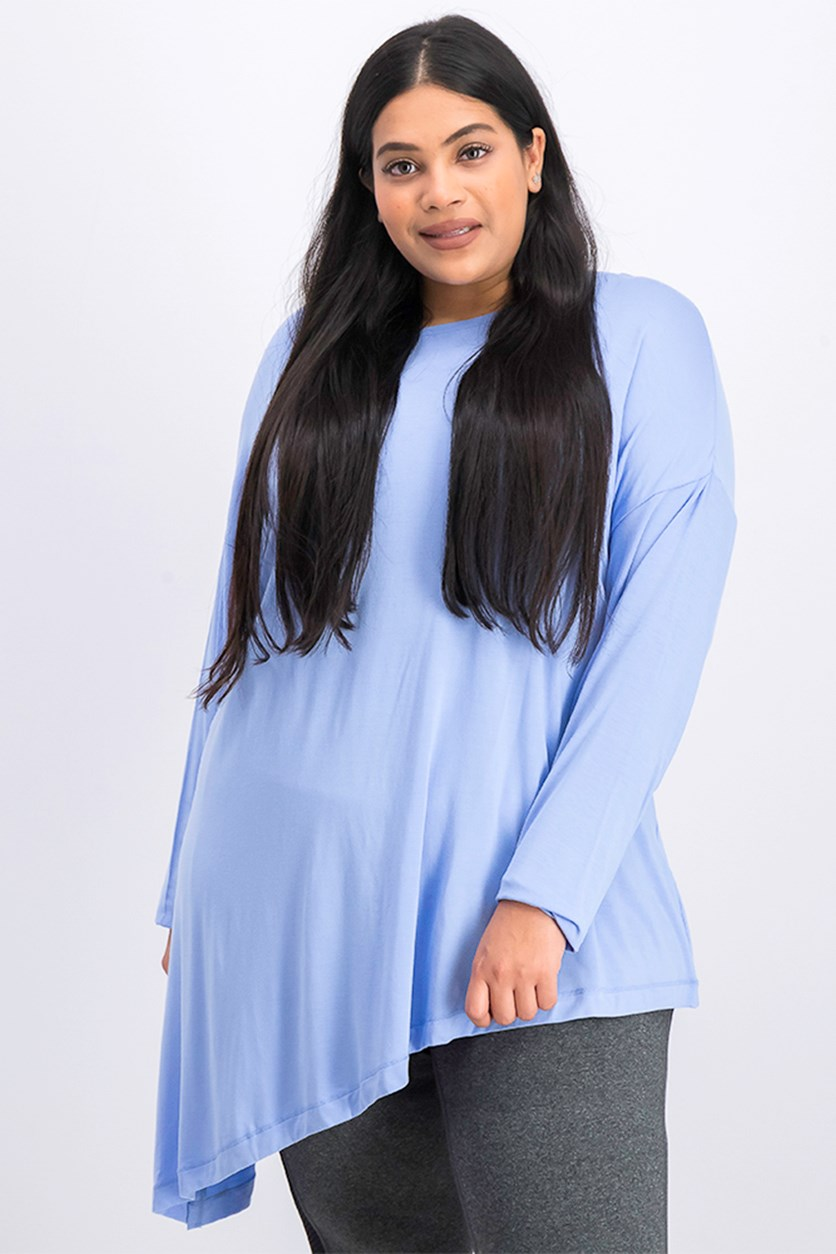Women's Plus Size Long Sleeves Asymmetric Pullover Top, Blue