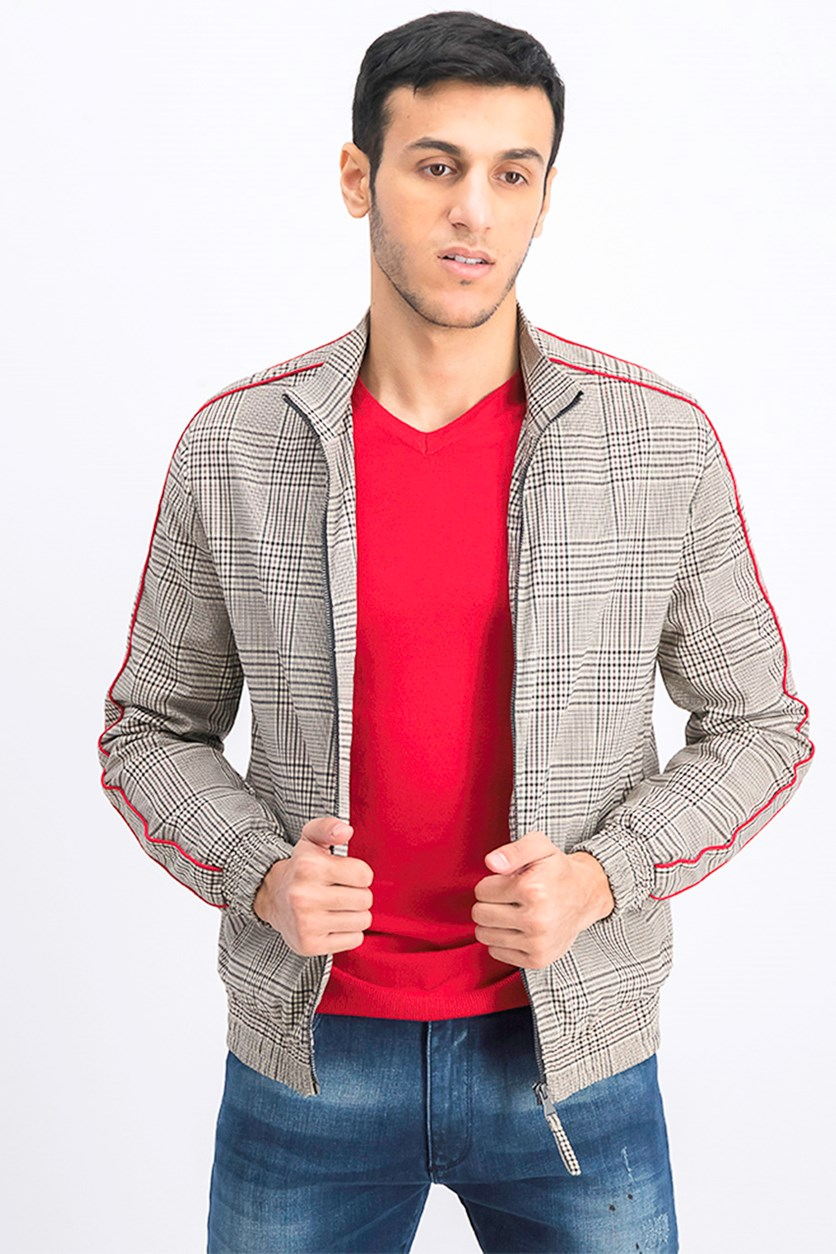 Checked Lightweight Jacket, Black/Beige Combo