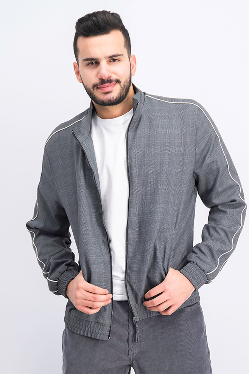 Men's Checked Lightweight Jacket, Grey Combo