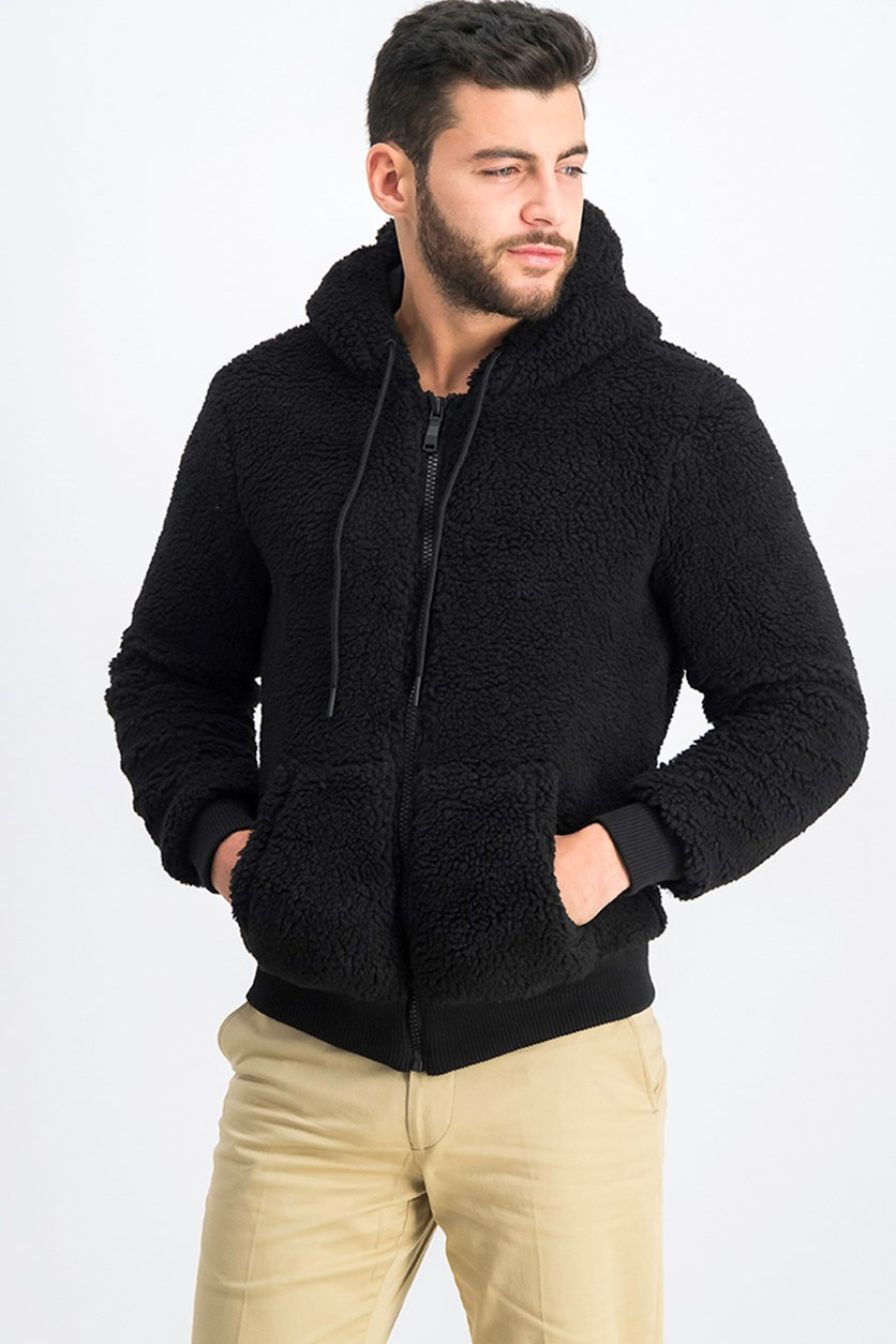 Mens Faux Fur Jacket, Black