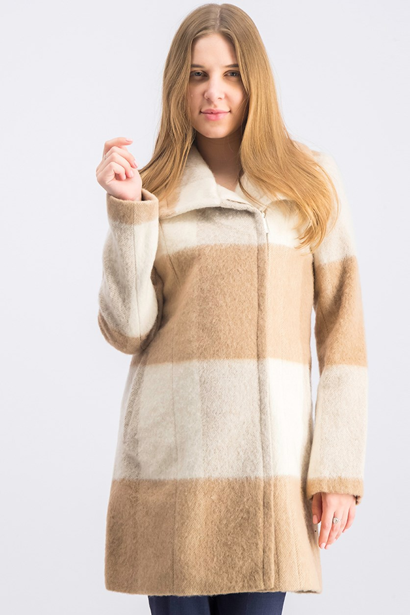 Women's Plaid Walker Coat, Beige/Tan