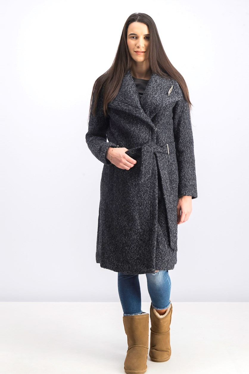 Women's Wool Boucle Wrap Coat, Black/Grey