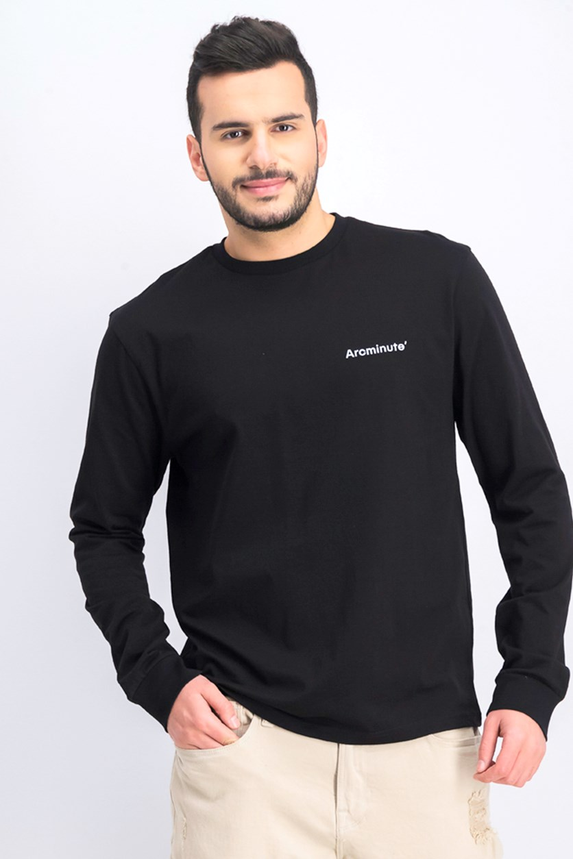 Men's Long Sleeve Graphic T-Shirt, Black