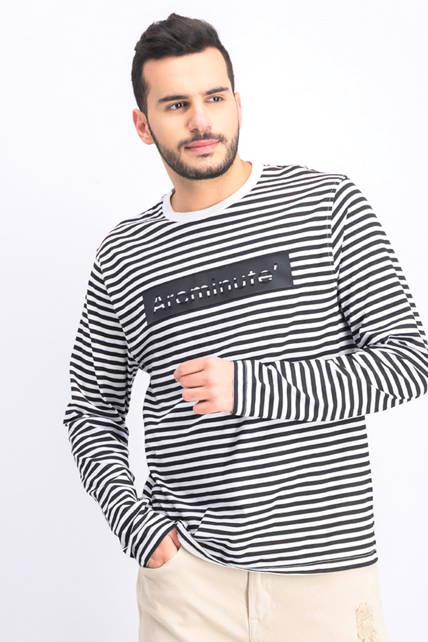 Men's Stripe Long Sleeve T-Shirt, White/Black