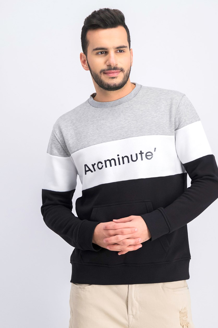Men's Crew Neck Sweatshirt, Grey/Black/White