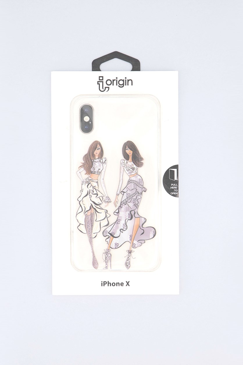 iPhone X Two Ladies Flexible Soft Case, Transparent