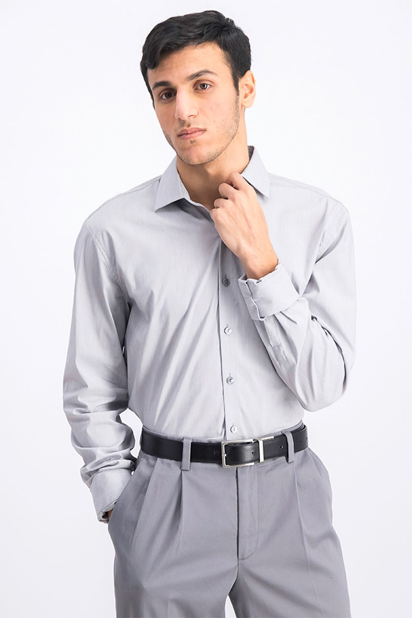Men's Slim-Fit Broadcloth French Cuff Dress Shirt, Grey Frost