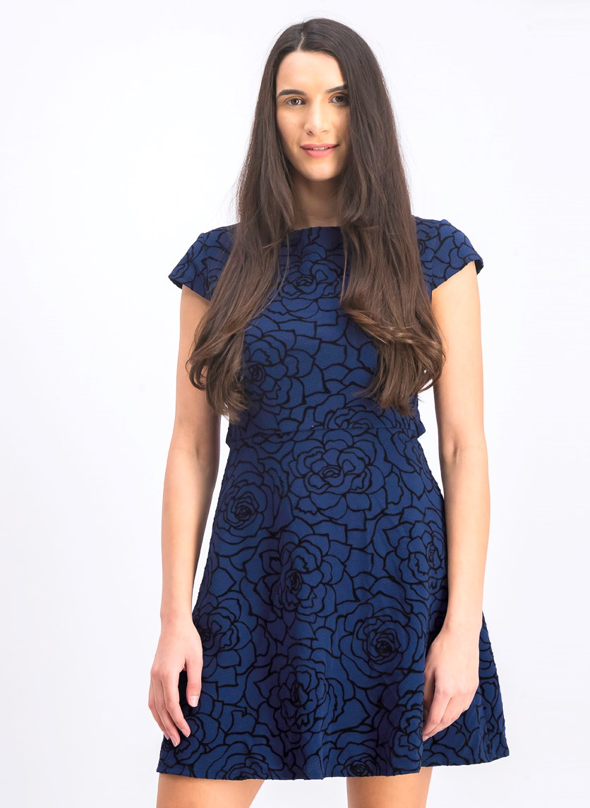 Juniors' Floral-Print Cutout Dress, Navy