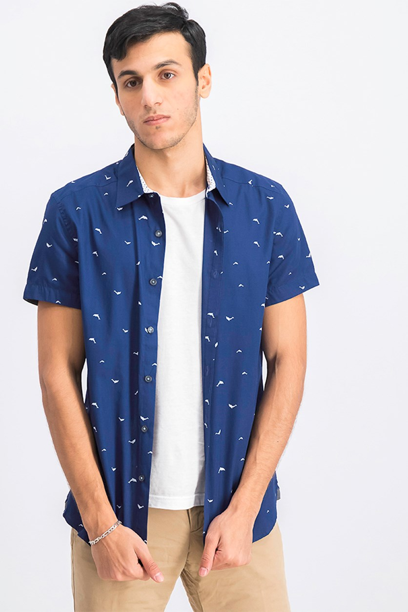Men's Short Sleeve Printed Shirt, Medieval Blue