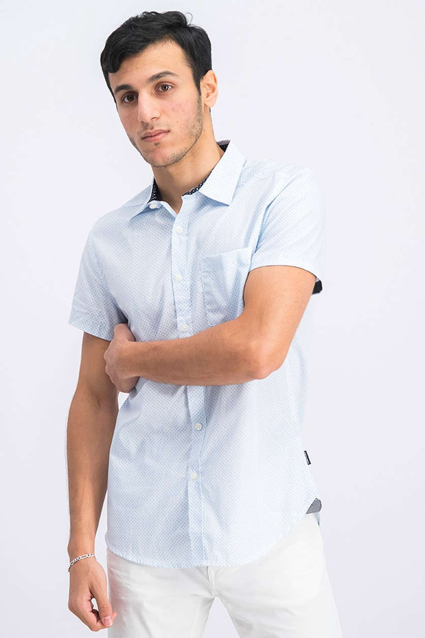 Men's Star Stripe Print Shirt, Silver Lake Blue