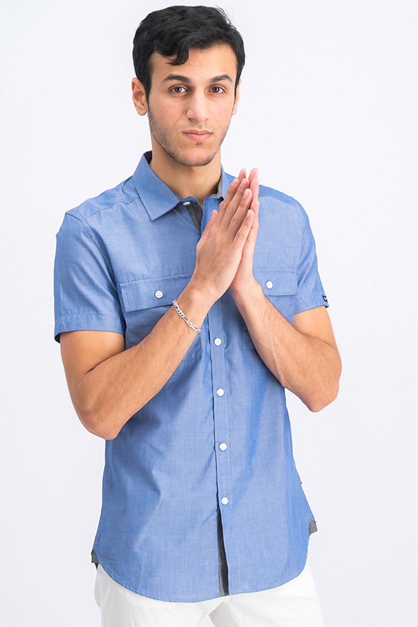 Men's Two Pocket Casual Shirt, Chambray