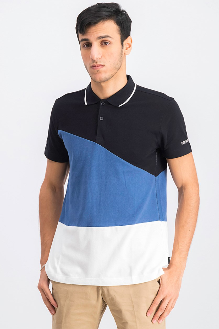 Men's Colorblocked Polo Shirt, Black/White/Blue