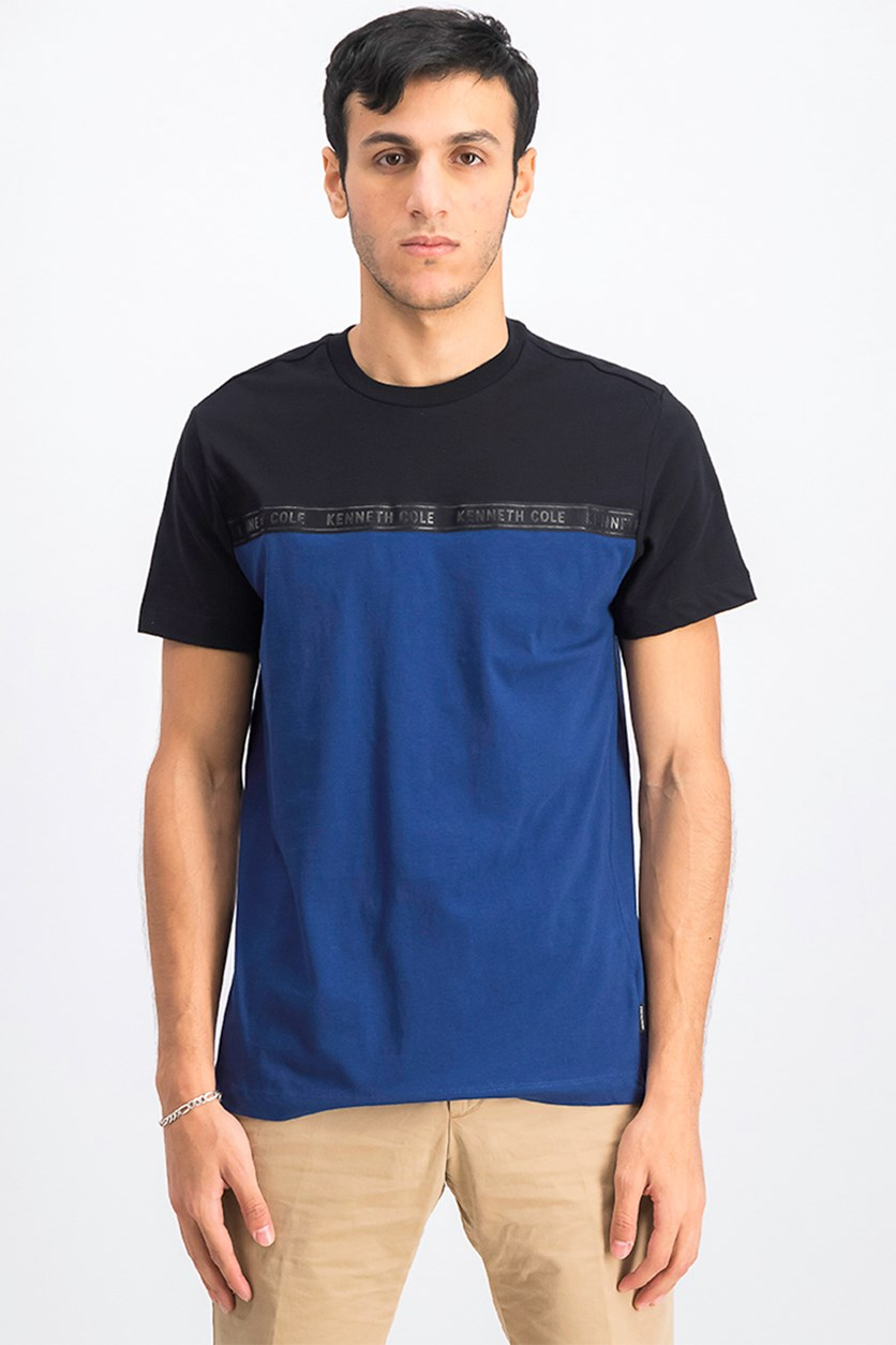 Men's Logo Tape Detaill Crew T-Shirt, Black/Blue