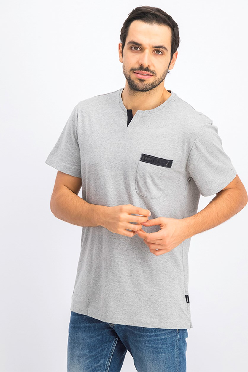 Men's V-Neck With Logo Tape Pocket Tee, Grey Heather