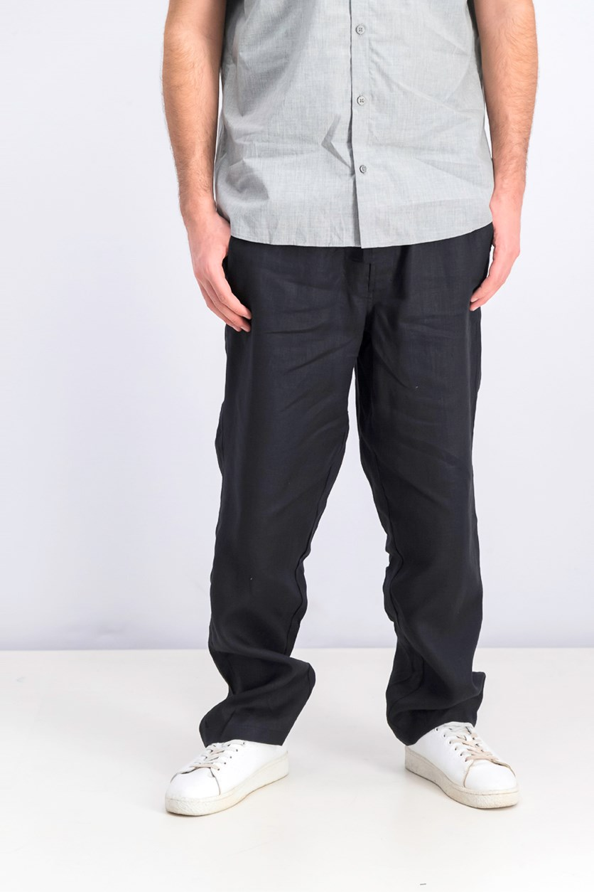 Men's Island Linen Drawstring Pants, Black