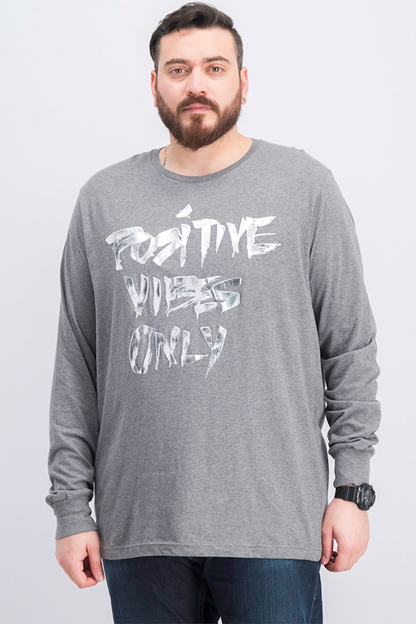 Mens Positive Vibes Metallic Graphic Tee, Medium Grey Heather