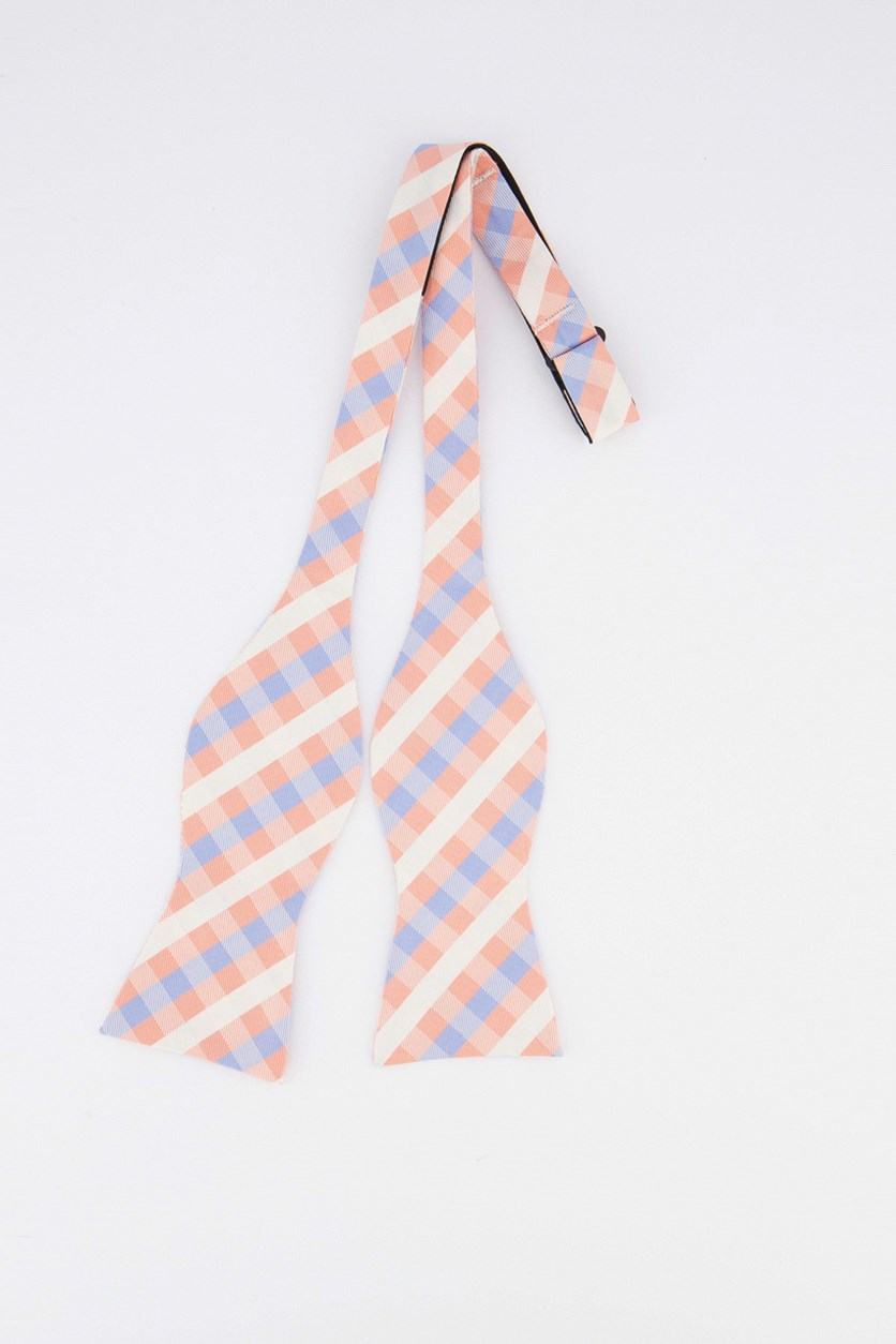 Men's Derby Small Gingham Self-Tied Bow Tie, Coral/Light Blue/White