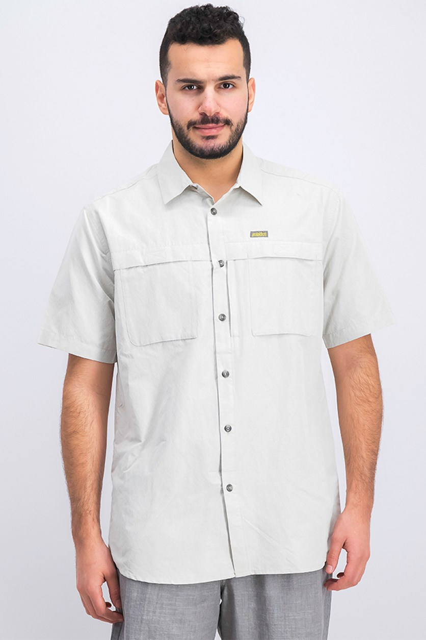 Men's Short Sleeve Travel Shirt, Light Grey