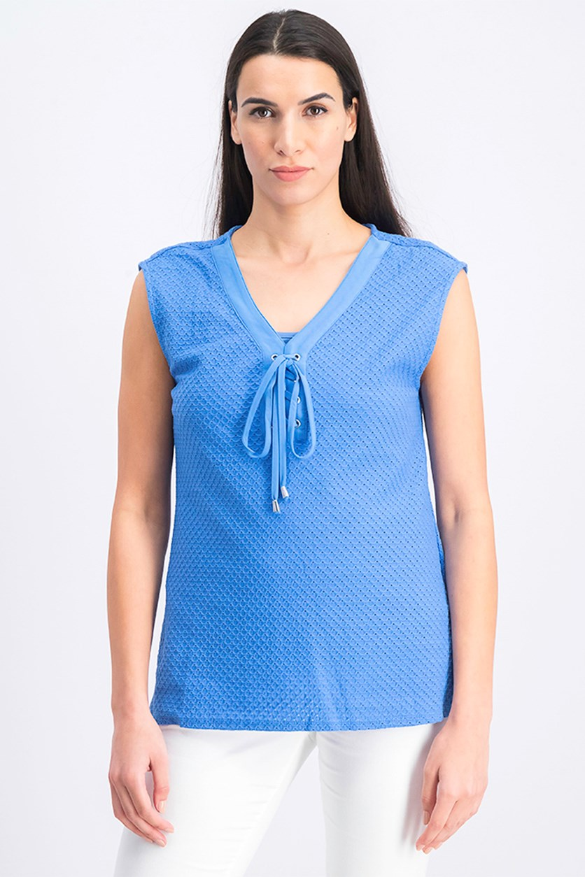 Womens Lace Neck Top, Lake Blue