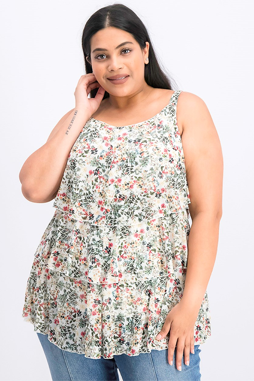 Women's Plus Size Floral Tiered Tank Mesh Tank Top, Soft White/Green Combo