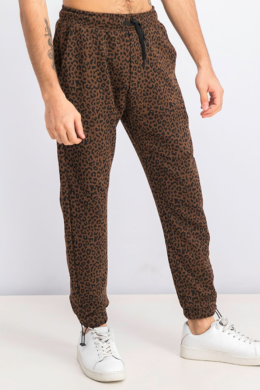 Men's Leopard Print Jogging Trousers, Brown/Black