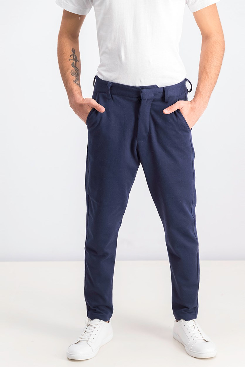Men's Slim Cropped Pants, Navy