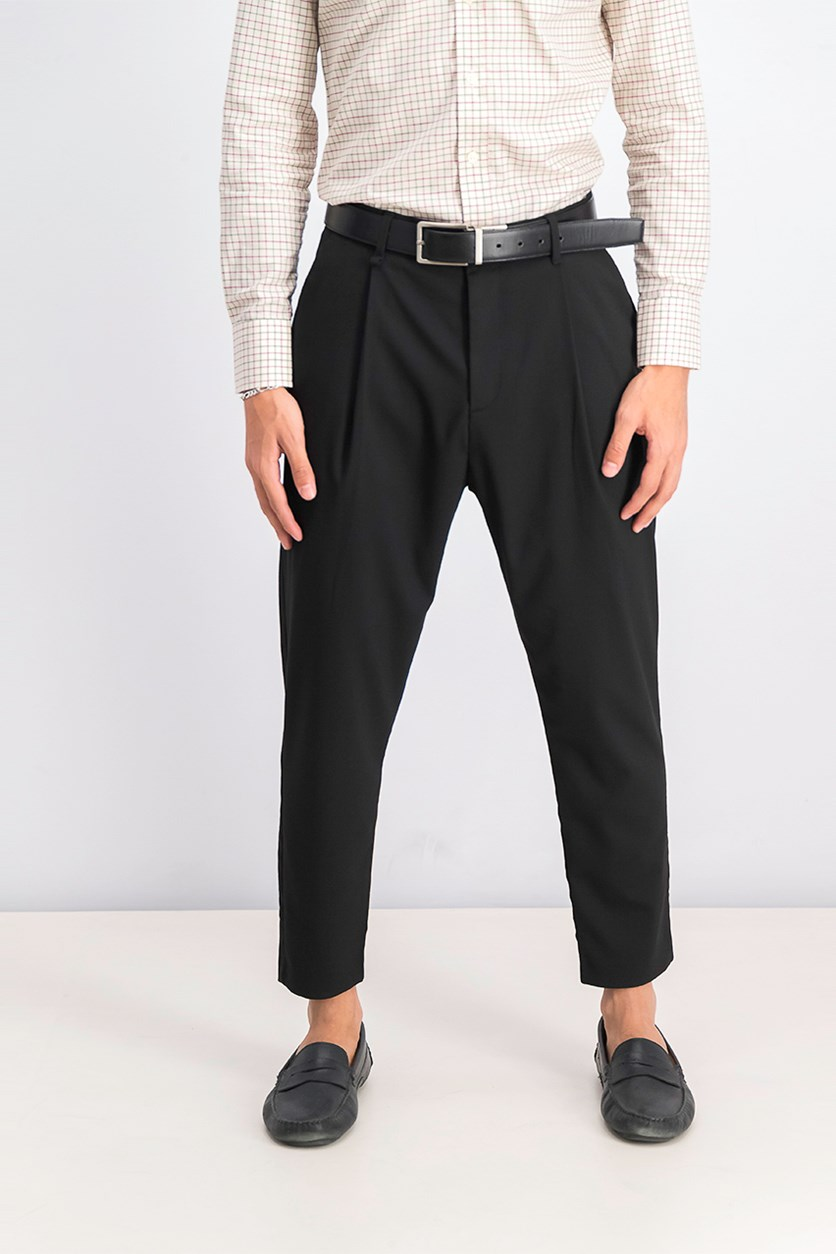 Men's Loose Fit Carrot Trousers, Black
